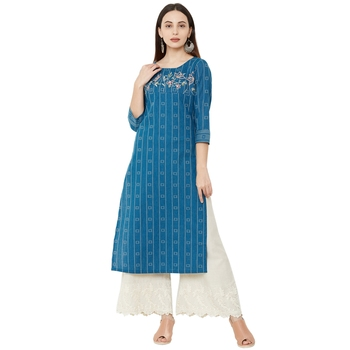blue cotton woven casual floral embroidered kurti with 3/4th sleeves.