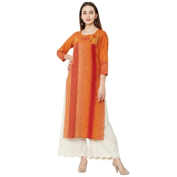 orange cotton woven casual kurti having floral embroidery with 3/4th sleeves.