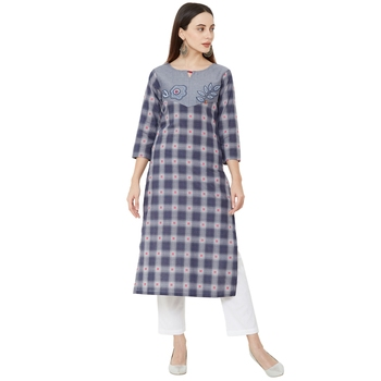 casual wear cotton woven grey color 3/4th slevees kurti with floral thread-work.