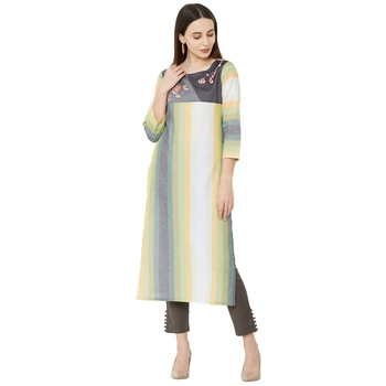 casual cotton woven multicolor embroidered kurti with 3/4th sleeves.