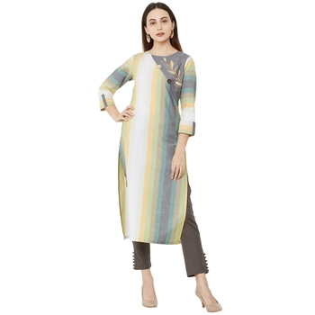 casual cotton woven multicolored (grey, green & orange) embroidered kurti with 3/4th sleeves.