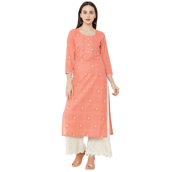 pure cotton woven casual pink dailywear kurti with 3/4th sleeves.