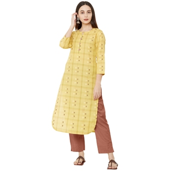 pure cotton woven casual yellow dailywear kurti with 3/4th sleeves.