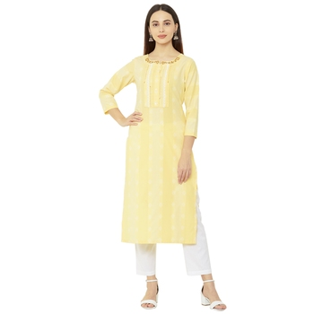 cotton woven yellow colored embellished casual 3/4th sleeves long kurti.