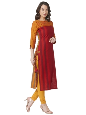 cotton woven red & yellow embellished casual wear 3/4th sleeves with geomteric thread-work.