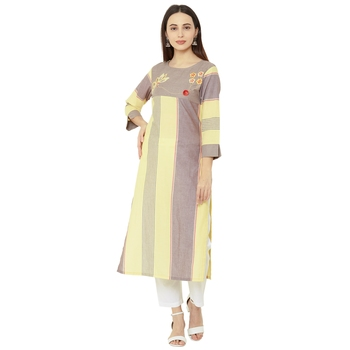 yellow and beige striped cotton woven casual kurti having floral embroidery on yoke.