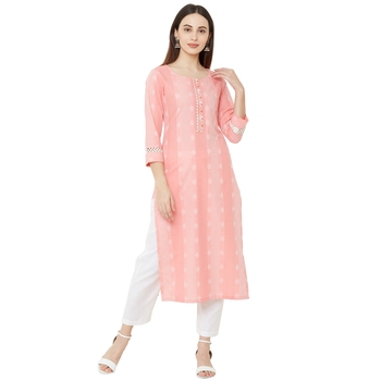 casual wear pink coloured cotton woven straight fit embellished kurti with 3/4th sleeves