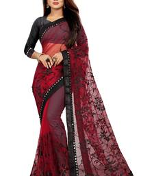 Maroon embroidered net saree with blouse