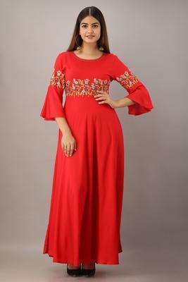 Women's Red Rayon Slub Embroidered Anarkali Kurta