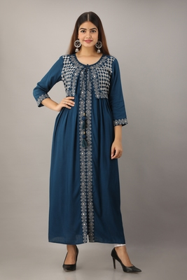 Women's Teal Blue Rayon Slub Embroidered Straight Kurta
