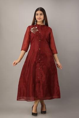 Women's Maroon Tissue Embroidered A-Line Kurta