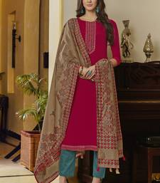 Rani Pink Muslin With Embroiery Salwar Suit