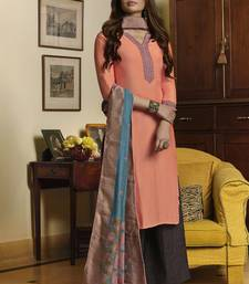 Peach Muslin With Embroiery Salwar Suit