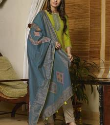 Lime Muslin With Embroiery Salwar Suit