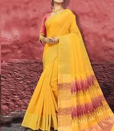 Yellow Jute Cotton Jute Sarees