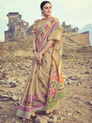 Beige woven linen saree with blouse