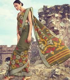 Mehendi woven linen saree with blouse