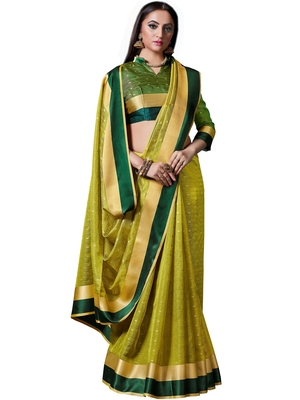Parrot green woven jacquard saree with blouse