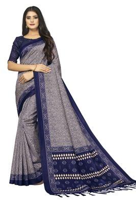 Women Blue Bhagalpuri Silk Saree with Printed Design Blouse Piece