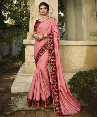Baby pink embroidered silk blend saree with blouse