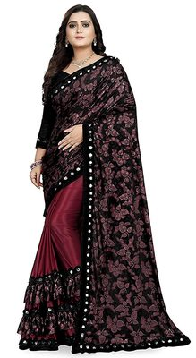 Magenta printed lycra saree with blouse