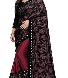 Magenta printed lycra saree with blouse