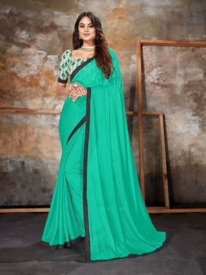 Turquoise plain lycra saree with blouse