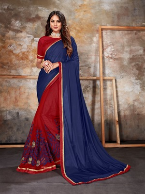 Navy blue embroidered lycra saree with blouse