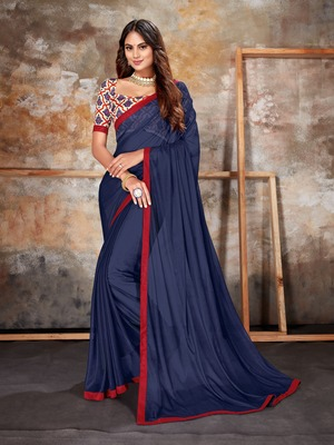 Navy blue plain lycra saree with blouse