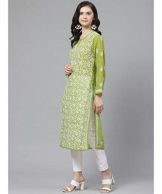 Ada Hand Embroidered Green Georgette Lucknow Chikankari Kurta with Trouser Set