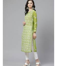 Ada Hand Embroidered Green Georgette Lucknow Chikankari Kurta with Trouser Set
