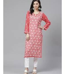 Ada Hand Embroidered Carrot Pink Georgette Lucknow Chikankari Kurta with Trouser Set