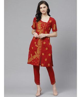 Ada Hand Embroidered Maroon Cotton Lucknow Chikankari Kurta with Trouser Set