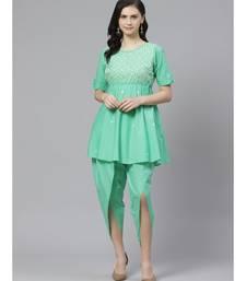 Ada Hand Embroidered Green Cotton Lucknow Chikankari Kurta with Dhoti Set
