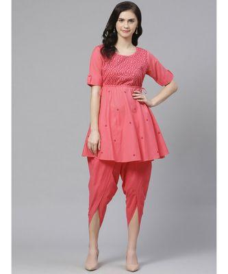 Ada Hand Embroidered Pink Cotton Lucknow Chikankari Kurta with Dhoti Set