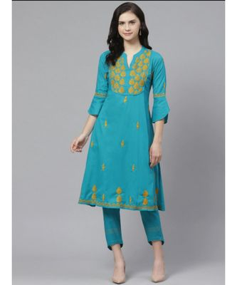 Ada Hand Embroidered Blue Cotton Lucknow Chikankari Kurta with Trouser Set