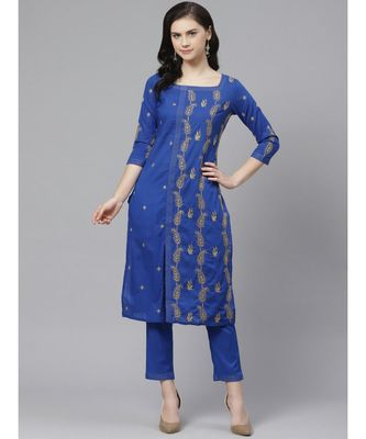 Ada Hand Embroidered Royal Blue Cotton Lucknow Chikankari Kurta with Trouser Set