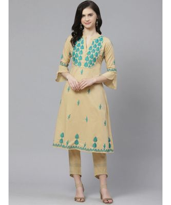 Ada Hand Embroidered Beige Cotton Lucknow Chikankari Kurta with Trouser Set