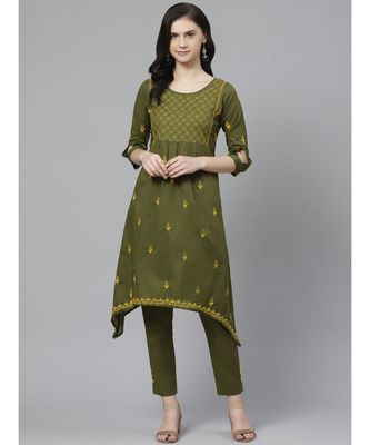 Ada Hand Embroidered Green Cotton Lucknow Chikankari Kurta with Trouser