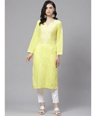 Ada Hand Embroidered Yellow and White Cotton Lucknow Chikankari Kurta with Churidar Set