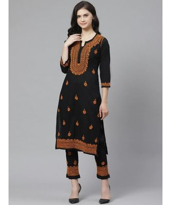 Ada Hand Embroidered Black Cotton Lucknow Chikankari Kurta with Trouser Set