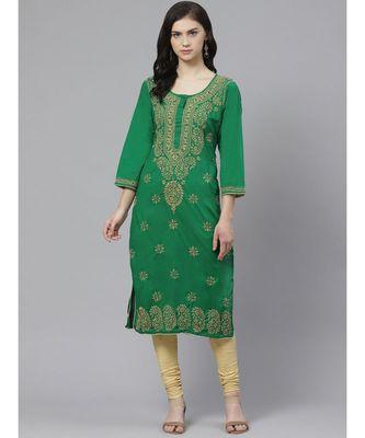 Ada Hand Embroidered Green Lucknow Chikankari Kurta with Churidar Set