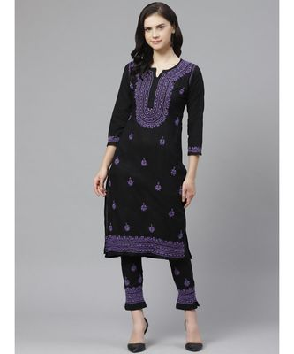 Ada Hand Embroidered Black Cotton Lucknow Chikankari Kurta with Trouser Set