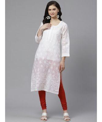 Ada Hand Embroidered White Cotton Lucknow Chikankari Kurta with Churidar Set