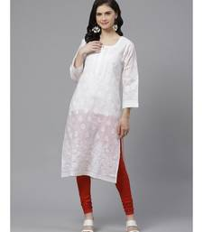 Ada Hand Embroidered White Cotton Lucknow Chikankari Kurta with Churidar Set