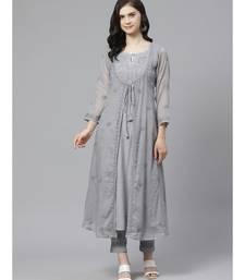 Ada Hand Embroidered Grey Kota Lucknow Chikankari Kurta with Trouser Set