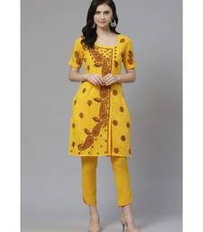 Ada Hand Embroidered Yellow Cotton Lucknow Chikankari Kurta with Trouser Set