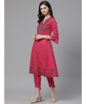 Ada Hand Embroidered Pink Cotton Lucknow Chikankari Kurta with Trouser Set