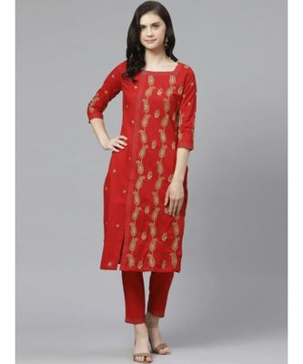 Ada Hand Embroidered Red Cotton Lucknow Chikankari Kurta with Trouser Set