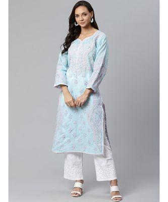 Ada Hand Embroidered Blue Cotton Lucknow Chikankari Kurta with Trouser Set